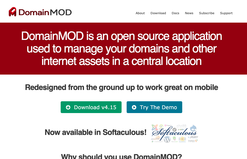DomainMOD - open source application used to manage your domains and other internet assets in a central location
